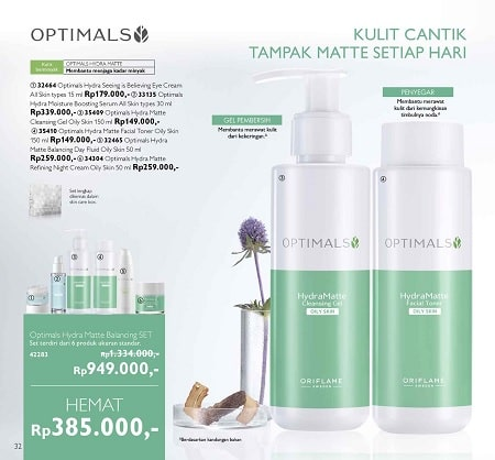 Harga Promo Diskon Optimals Hydra Matte Belancing SET Oriflame